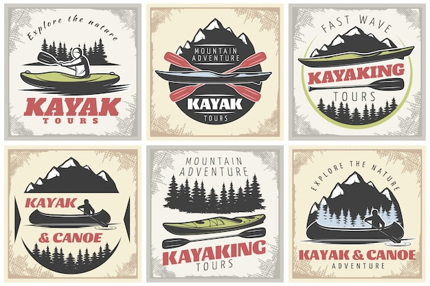 Kayaking tours posters set