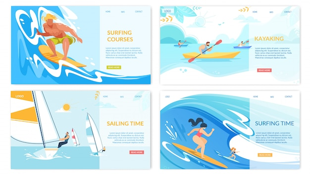Kayaking water sport activities horizontal banners set