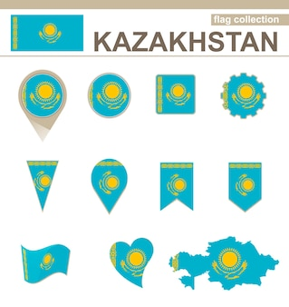 Kazakhstan flag collection, 12 versions