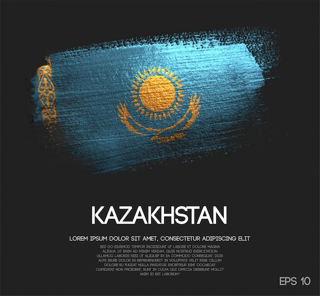 Kazakhstan flag made of glitter sparkle brush paint