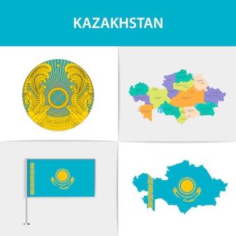 카자흐스탄 국기지도 및 국장