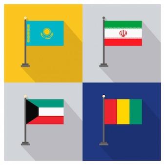 Kazakhstan Iran Kuwait and Guinea Flags