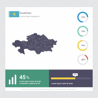 Kazakhstan map & flag infographics template