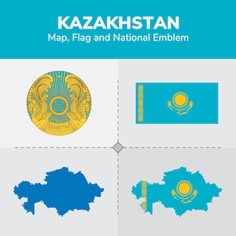 Kazakhstan map, flag and national emblem