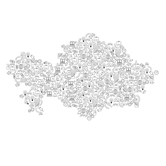 Seo分析の概念または開発、ビジネスの黒いパターンセットアイコンからカザフスタンの地図。ベクトルイラスト。