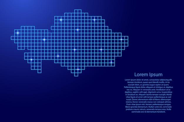 Силуэт карты казахстана из синей мозаичной структуры квадратов и светящихся звезд. векторная иллюстрация.