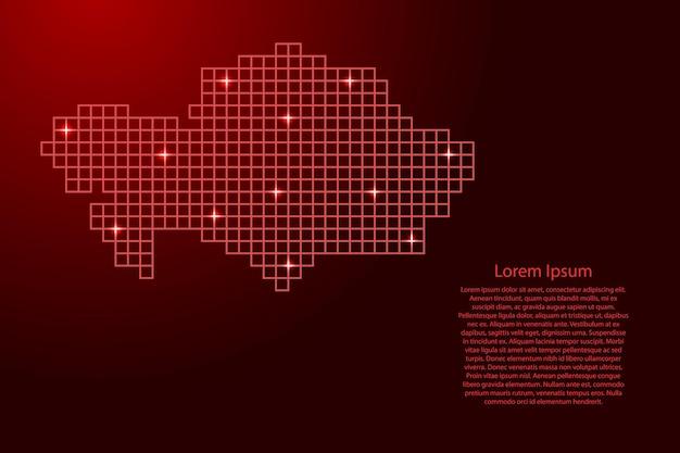 Силуэт карты казахстана из красной мозаичной структуры квадратов и светящихся звезд. векторная иллюстрация.