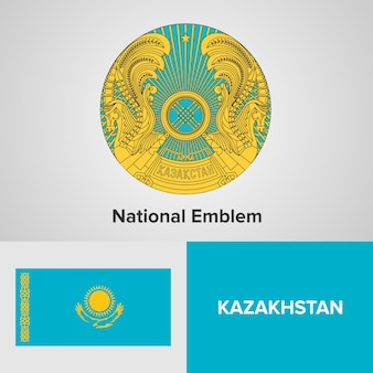 Kazakhstan national emblem and flag