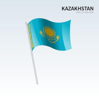 Kazakhstan waving flag isolated on gray background