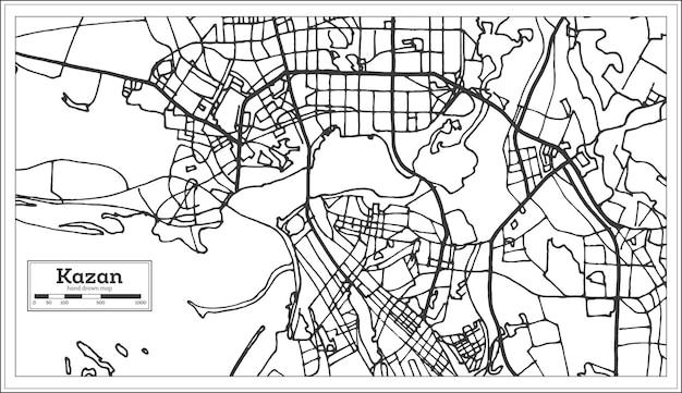 レトロなスタイルのカザンロシアの都市地図。白地図。ベクトルイラスト。