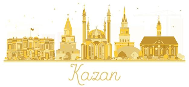 カザンロシアシティスカイラインゴールデンシルエット。ベクトルイラスト。観光プレゼンテーション、バナー、プラカードまたはwebサイトのシンプルなフラットコンセプト。ランドマークのあるカザンの街並み。