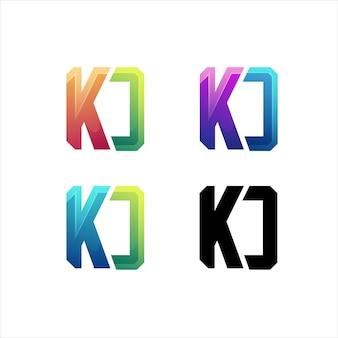 Kd文字ロゴの最初のカラフルなイラストのグラデーション