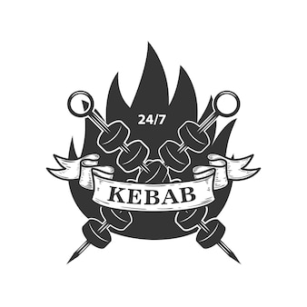 Kebab emblem template. fast food.  element for logo, label, emblem, sign.  image