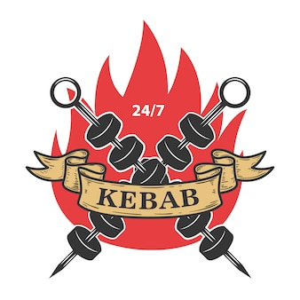 Kebab emblem template. fast food.