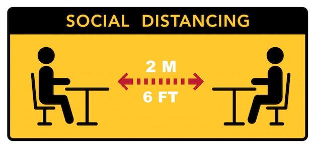 식당과 카페에서 사회적 거리를 유지하십시오. 방문객 테이블은 안전한 거리에 있습니다.