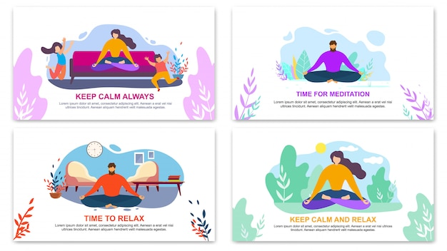 Keep calm always, time for meditation banner