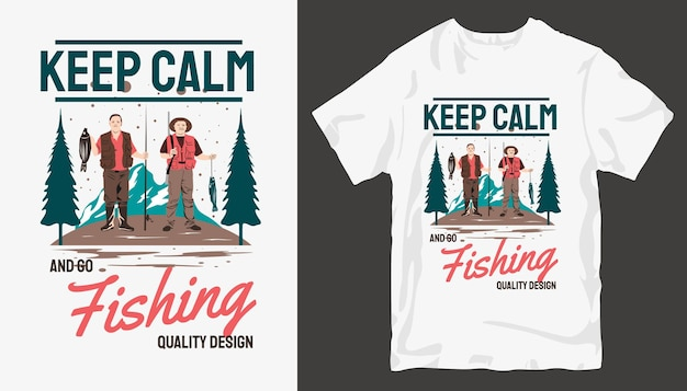 落ち着いて釣りをする、釣りのtシャツのデザイン。