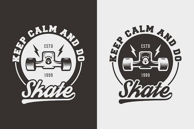 落ち着いてスケートをするヴィンテージタイポグラフィスケートボードtシャツデザインイラスト