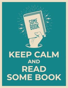 침착하게 책을 읽으십시오. 손으로 책 실루엣을 잡고 동기 부여 포스터 템플릿을 읽고. 삽화