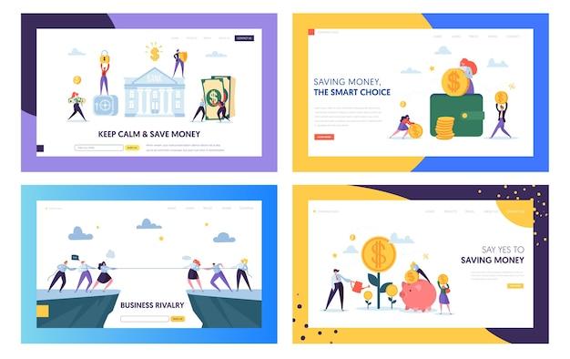 落ち着いてお金を節約するランディングページセット。ビジネスの競争における賢明な選択、会社の資本の獲得と維持。安全な現金のウェブサイトまたはウェブページ。フラット漫画ベクトルイラスト