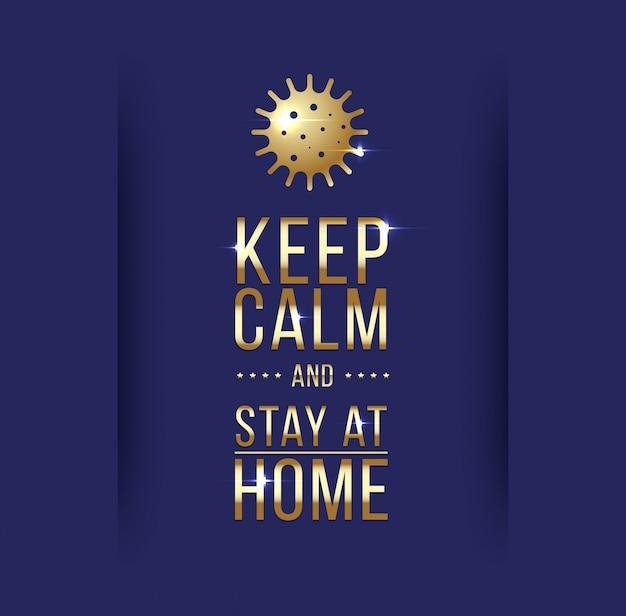 Сохраняйте спокойствие и оставайтесь дома. символ коронавируса. коронавирусная иллюстрация карантина. коронавирусная печать. вектор.