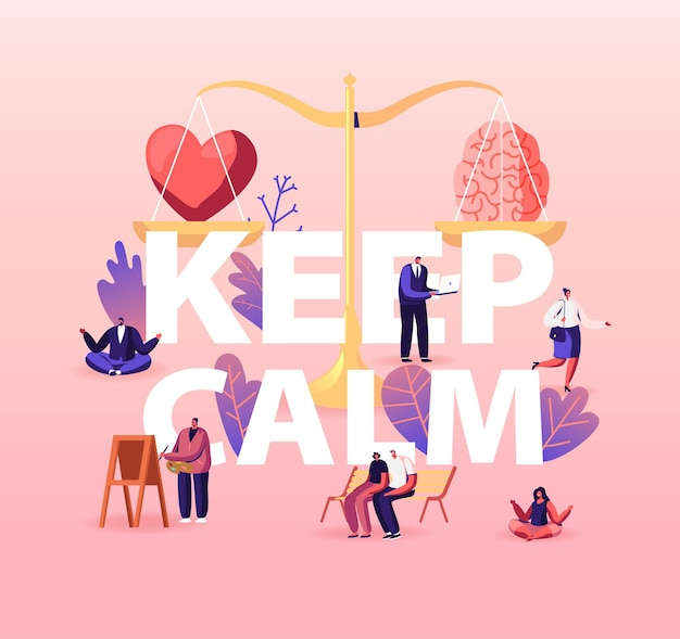 Keep calm concept. heart and brain lying on scales. characters search balance in love, intelligence and logic.