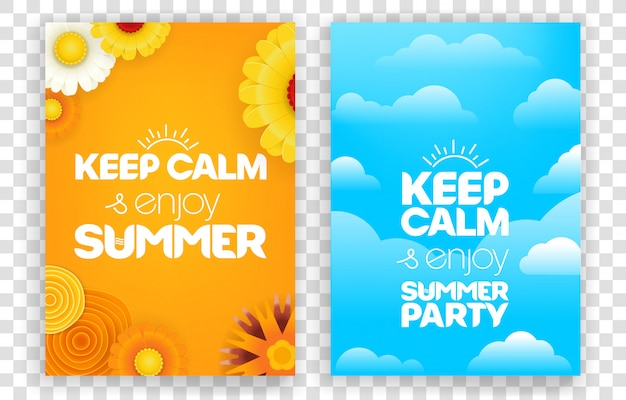 Keep calm and enjoy summer party. vector vertical banners set isolated on transparent