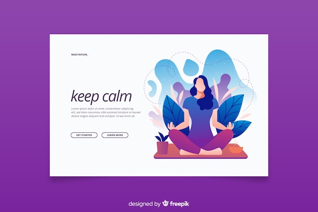 Keep calm meditation concept for landing page