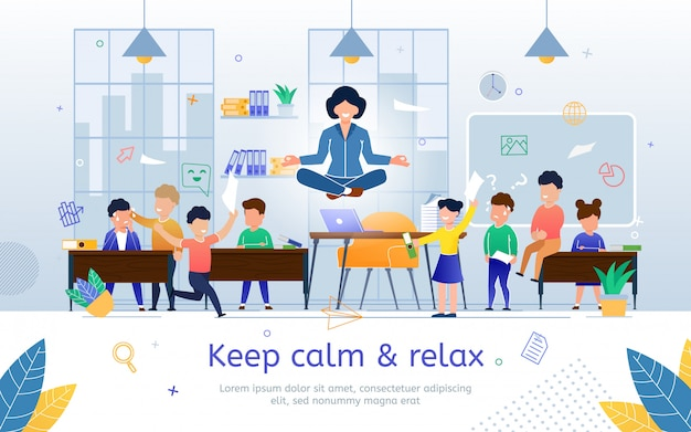 Keep calm and relax on work flat  banner