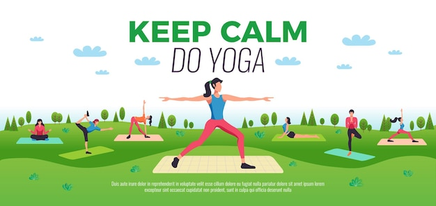 Keep calm do yoga online classes poses advertisement flat horizontal composition with outdoor practicing people  illustration
