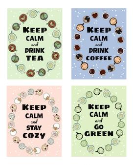 Сохраняйте спокойствие, вкусные чашки и напитки, набор симпатичных постеров.