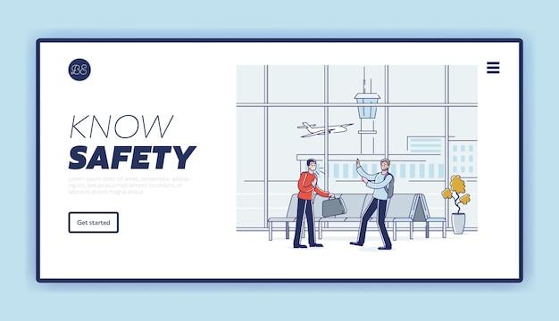 Держите дистанцию и оставайтесь в безопасности, путешествуя во время концепции пандемии covid с людьми в аэропорту, кашляющими