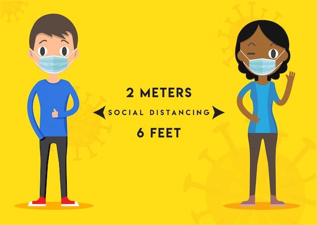 Держите дистанционный знак. эпидемическая защита от короновируса. предупредительные меры. шаги, чтобы защитить себя. держите расстояние 2 метра. иллюстрации.