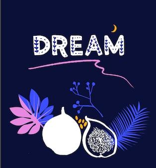 꿈을 꾸세요. 저널에 대한 영감을 주는 인용문은 인사말 카드와 수면 용품을 인쇄합니다.