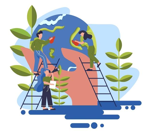 地球をきれいに保つ。リサイクルとクリーニングのコンセプト。生態学および環境の心配。ごみ再利用のアイデア。