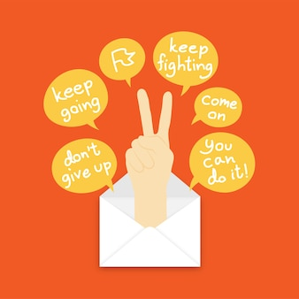 Keep fighting hand sign language pop up from mail and text box on orange color background