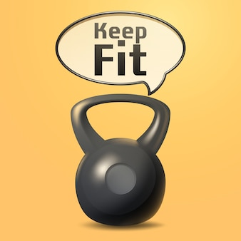 Keep fit poster with realistic iron weight
