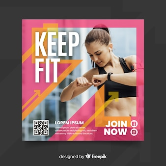 Keep fit sport flyer with photo