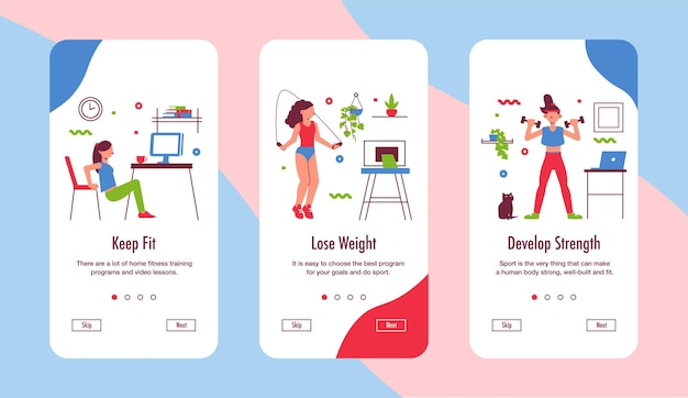 Keep fit while working from home 3 smartphone screens set with yoga fitness strength exercises
