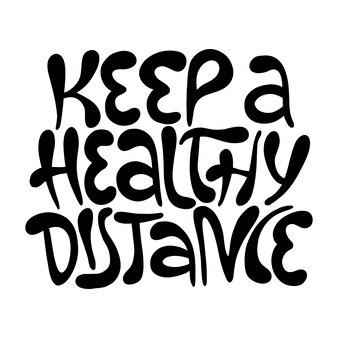 건강한 규칙으로 손으로 그린 레터링 코로나바이러스 예방 포스터를 건강한 거리로 유지