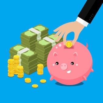 돈 개념을 유지하십시오. 손으로 돈을 수집 귀여운 뚱뚱한 돼지 저금통입니다. 평면 그림.