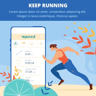 Keep running square banner. jogging competition