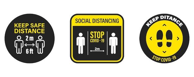 安全な距離を保ってください。コロナウイルス予防、エピデミック予防。人混みを避ける。社会距離拡大アイコンのセットです。 covid19。情報アイコンcovid-19発生防止。パンデミックに関する警告アドバイス