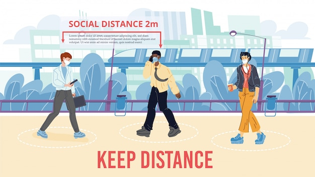 歩行中に2メートルの社会的距離を確保する