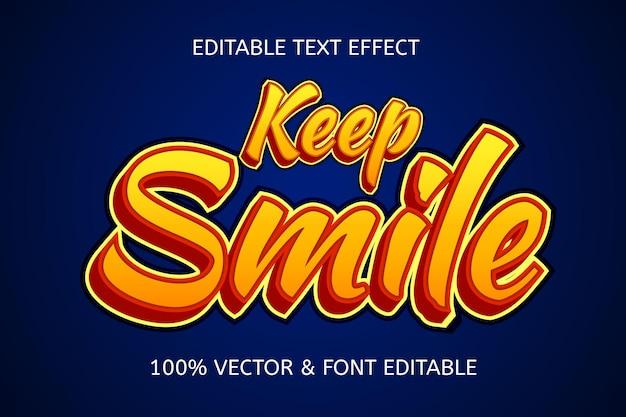 Keep smile style cartoon editable text effect
