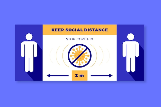 Keep social distance banner sign