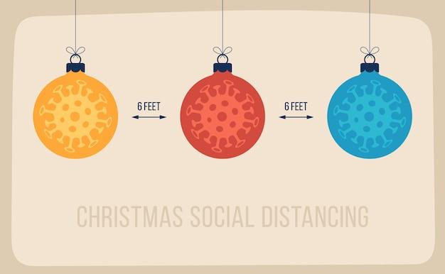 平らな漫画の木のボールで社会的距離メリークリスマスバナーを保ちます。