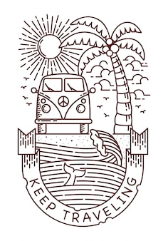 Keep traveling_beach line illustration