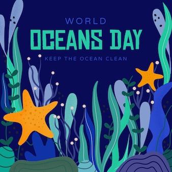 Mantenere l'acqua pulita giorno degli oceani disegnati a mano