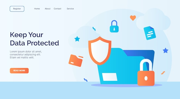 Keep your data protected file shield padlock icon campaign for web website home page landing template with cartoon style.